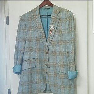 Vintage Blue plaid blazer